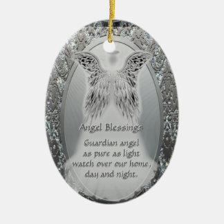 Ornamento del ángel de guarda adorno navideño ovalado de cerámica