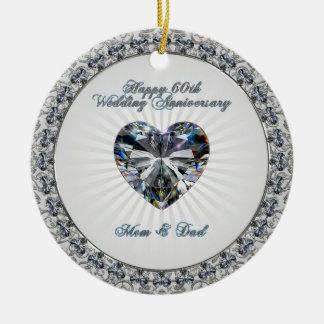 Ornamento del aniversario de boda del corazón 60.o