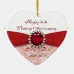 Ornamento del aniversario de boda del damasco 40.o ornamente de reyes