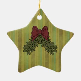 Ornamento del árbol de la estrella del arco de la adorno de cerámica en forma de estrella