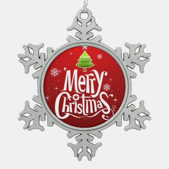 Ornamento del árbol de navidad adorno de peltre en forma de copo de nieve