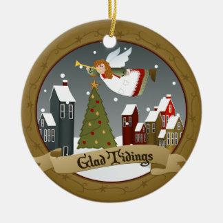 Ornamento del árbol del día de fiesta del ángel el adorno navideño redondo de cerámica