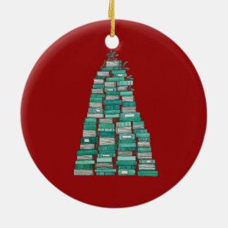 Ornamento del árbol del libro: Fondo rojo