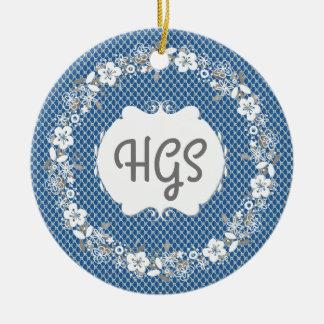 Adorno De Cerámica Ornamento del árbol del regalo del monograma del