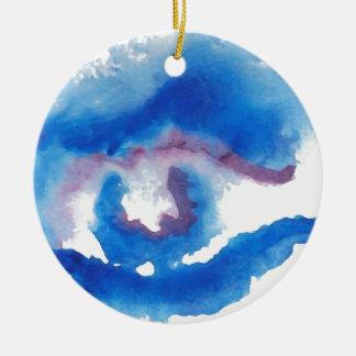 Ornamento del arte de CricketDiane del ojo azul de Adorno Redondo De Cerámica