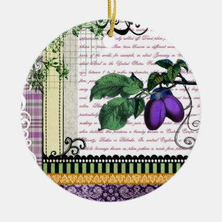 Ornamento del arte de la fruta del ciruelo del ornamentos de reyes