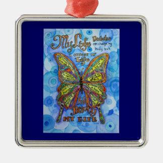 Ornamento del arte de la mariposa de la ayuda de adorno navideño cuadrado de metal