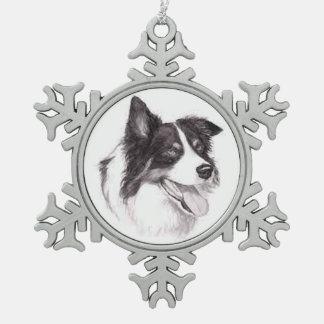 Ornamento del arte del perro del border collie adorno de peltre en forma de copo de nieve