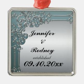 Ornamento del boda de novia y del novio adorno cuadrado plateado