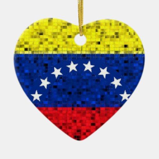 Ornamento del brillo de la bandera de Venezuela Ornamentos De Navidad