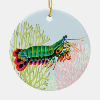 Ornamento del camarón de predicador del pavo real