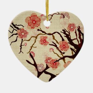 Ornamento del cerezo del vintage adorno navideño de cerámica en forma de corazón