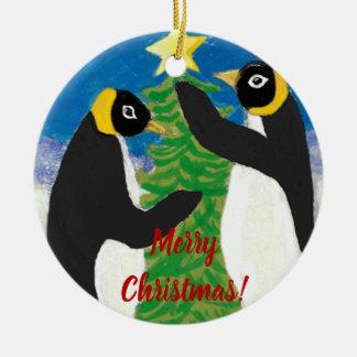 Ornamento del círculo del navidad de Penguine