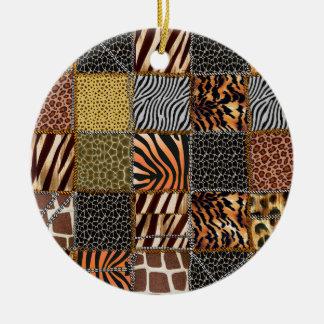 Ornamento del círculo del remiendo del safari adorno navideño redondo de cerámica