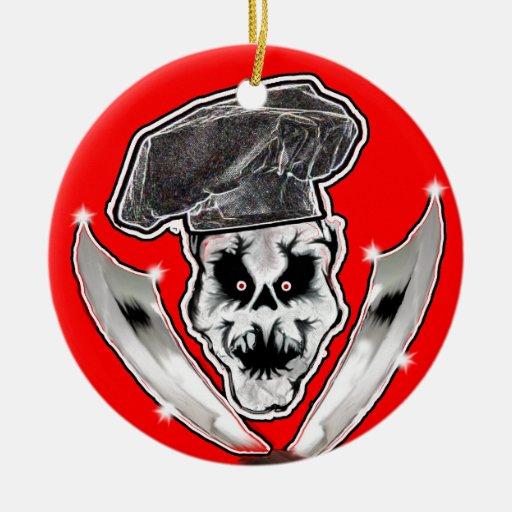 Ornamento del cocinero del cráneo ornaments para arbol de navidad