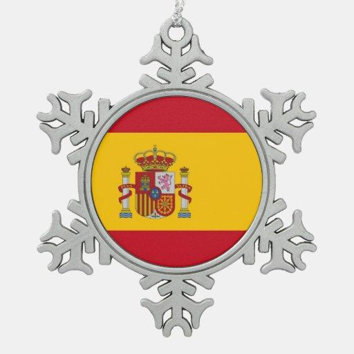 Ornamento del copo de nieve con la bandera de Espa Adorno