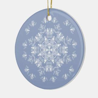 Ornamento del copo de nieve del ángel azul de adorno navideño redondo de cerámica