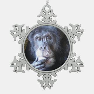 Ornamento del copo de nieve del chimpancé del adorno de peltre en forma de copo de nieve