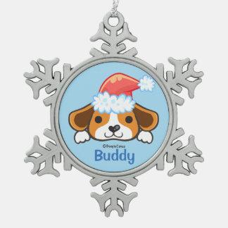 Ornamento del copo de nieve del estaño del perrito adorno de peltre en forma de copo de nieve
