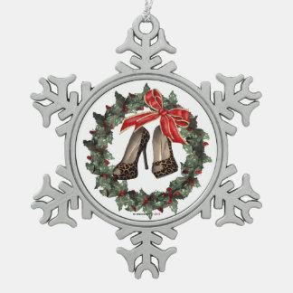 Ornamento del copo de nieve del zapato del estilet adornos