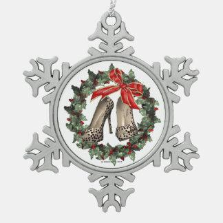 Ornamento del copo de nieve del zapato del estilet