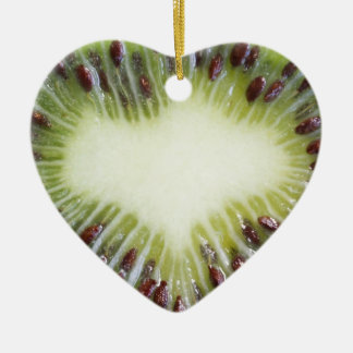 Ornamento del corazón de la fruta de kiwi adorno navideño de cerámica en forma de corazón