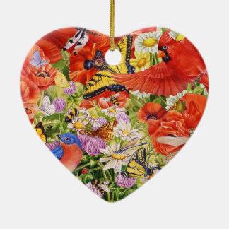 Ornamento del corazón de los pájaros, de las