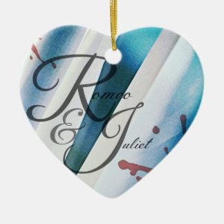 Ornamento del corazón de Romeo y de Juliet Adorno Navideño De Cerámica En Forma De Corazón