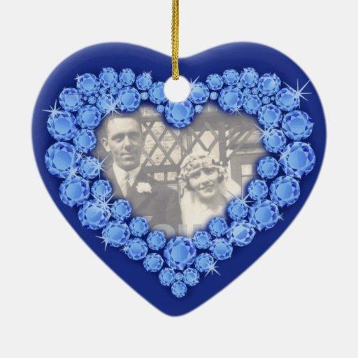 Ornamento del corazón del aniversario de boda del ornamento para arbol de navidad