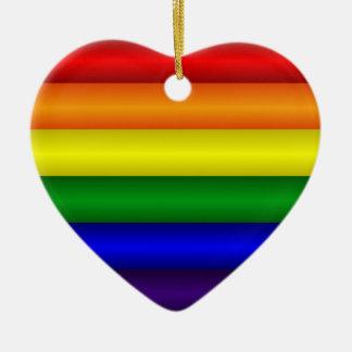 Ornamento del corazón del arco iris adorno navideño de cerámica en forma de corazón