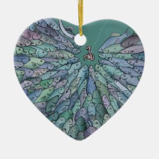 Ornamento del corazón del frenesí de la adorno de cerámica en forma de corazón