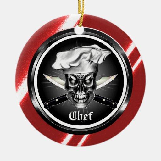 Ornamento del cráneo del cocinero ornaments para arbol de navidad