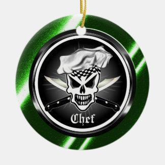 Ornamento del cráneo del cocinero ornamentos de navidad