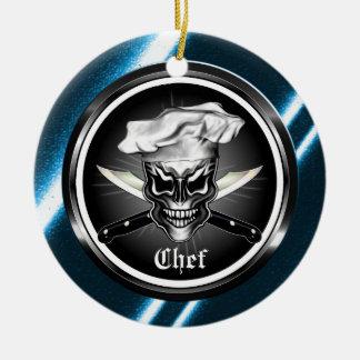 Ornamento del cráneo del cocinero adorno de navidad