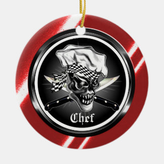 Ornamento del cráneo del cocinero ornamento para arbol de navidad