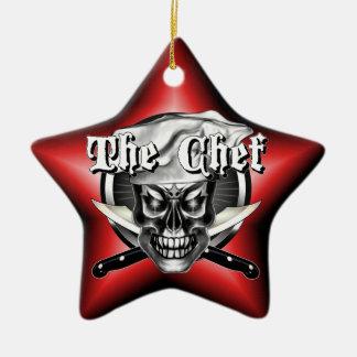 Ornamento del cráneo del cocinero ornamento de navidad