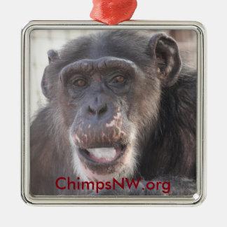 Ornamento del cuadrado del chimpancé de Missy Adorno Navideño Cuadrado De Metal