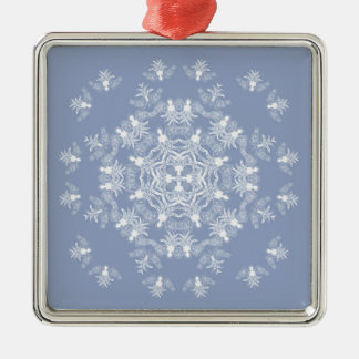Ornamento del cuadrado del copo de nieve del ángel adorno navideño cuadrado de metal