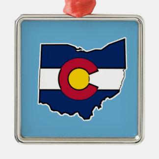Ornamento del cuadrado del esquema de Ohio de la Adorno Navideño Cuadrado De Metal
