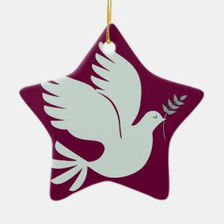 Ornamento del día de fiesta de la paloma de la paz adorno navideño de cerámica en forma de estrella