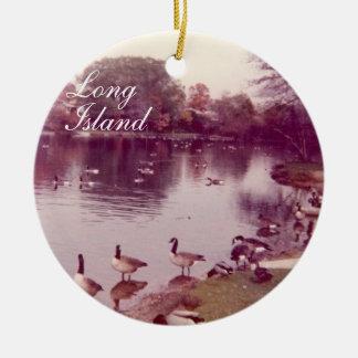 Ornamento del día de fiesta de Long Island del Adorno Navideño Redondo De Cerámica