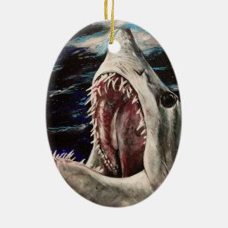 Ornamento del día de fiesta del navidad del baño adorno ovalado de cerámica