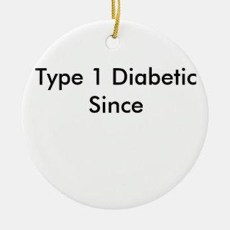 Ornamento del diabético del tipo 1 adorno navideño redondo de cerámica