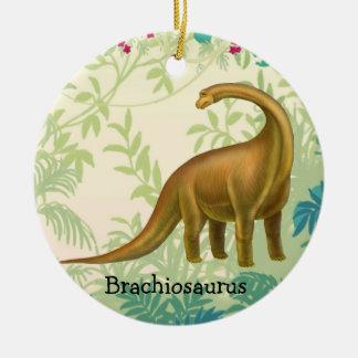 Ornamento del dinosaurio del Brachiosaurus de Adorno Navideño Redondo De Cerámica