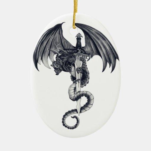 Ornamento del dragón y de la espada adornos