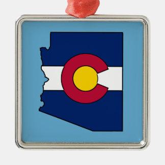 Ornamento del esquema de Arizona de la bandera de Adorno Navideño Cuadrado De Metal