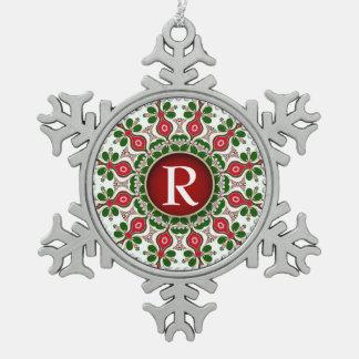 Ornamento del estaño del monograma del recuerdo adorno de peltre en forma de copo de nieve