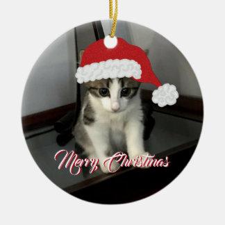Ornamento del gatito de las Felices Navidad
