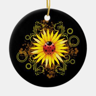 Ornamento del girasol de la mariquita adorno redondo de cerámica