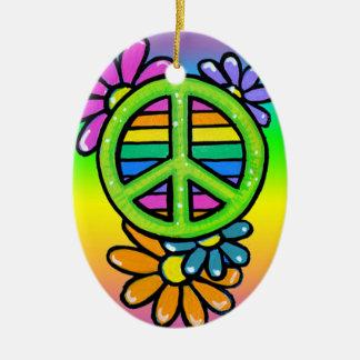 Ornamento del Hippie de la flor del signo de la Adorno Ovalado De Cerámica